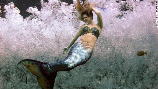 A mermaid grins and bears it while performing in chilly water at  Weeki Wachee Springs.
