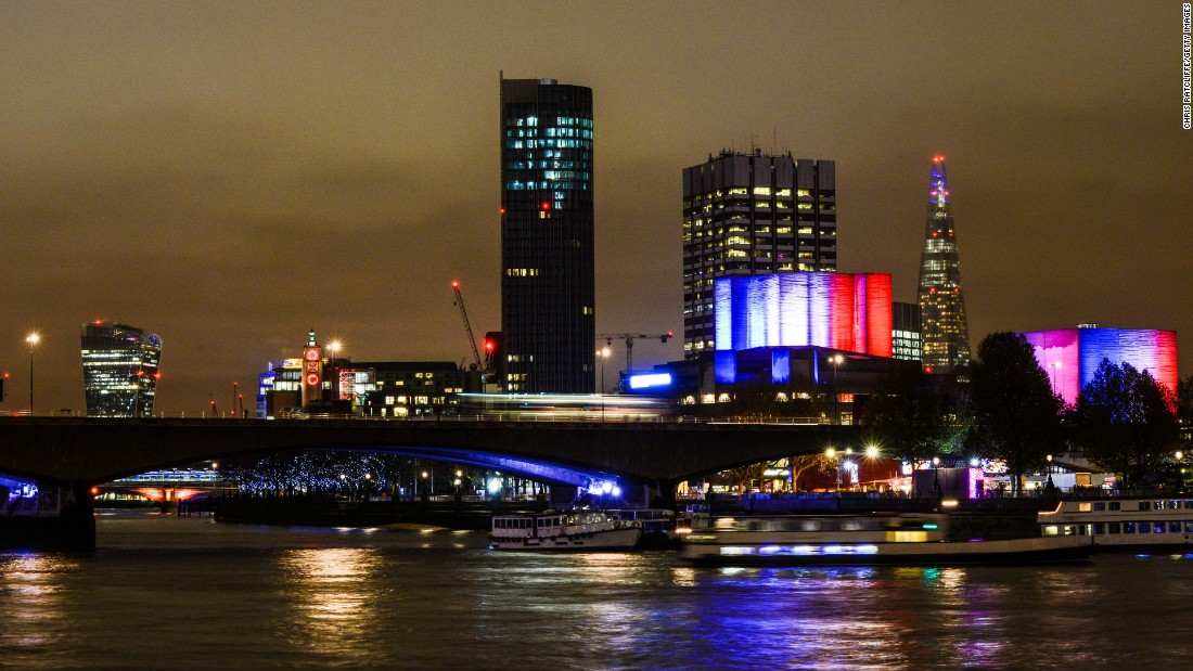 The Southbank Centre lights the cloudy sky in London on November 14.