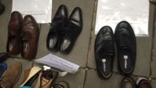 Activists laid out shoes where demonstrators might have stood.