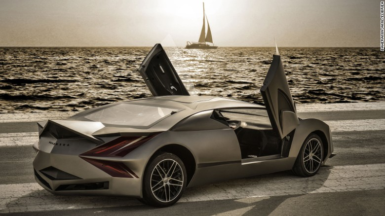 The car is designed to resemble a stealth fighter jet