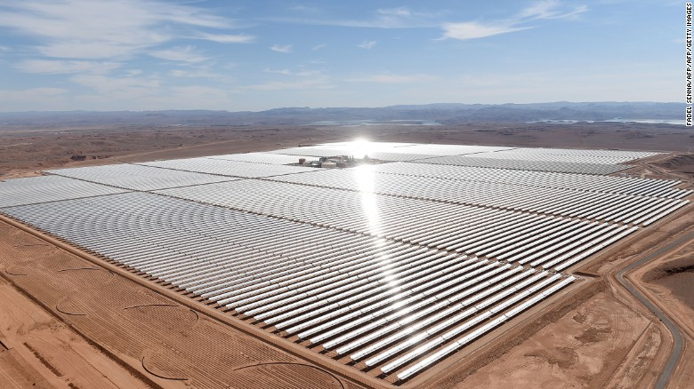 A new concentrated solar plant in Morocco will be the world's largest when completed. It could produce enough energy to power over one million homes by 2018 -- lowering carbon emissions by an estimated 760,000 tons per year. <br />