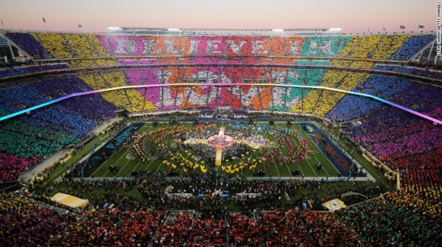 The crowd at Levi's Stadium gets involved during the halftime show.