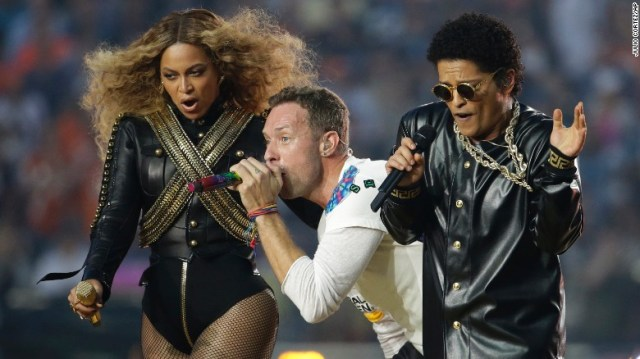 "Beyonce, Chris Martin and Bruno Mars perform during the <a href=""http://www.cnn.com/2016/02/07/us/gallery/super-bowl-50-photos/index.html"" target=""_blank"">Super Bowl 50</a> halftime show on Sunday, February 7."