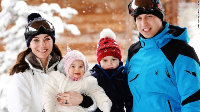 Britain's Prince William and Catherine, Duchess of Cambridge pose for a photo with their children, Princess Charlotte and Prince George in the French Alps on Thursday, March 3.