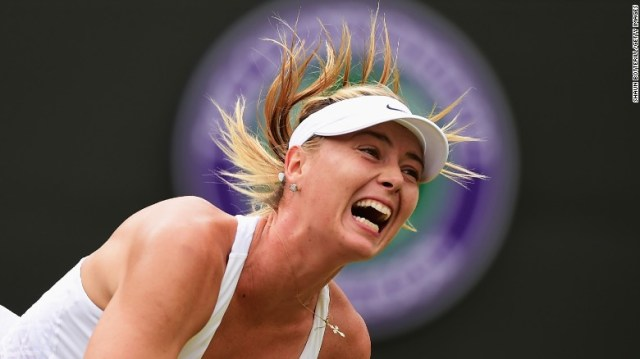 """Maria Sharapova serves the ball during a Wimbledon match in July. The Russian superstar, the world's <a href=""""http://www.cnn.com/2015/06/11/sport/forbes-magazine-floyd-mayweather-manny-pacquiao-worlds-highest-paid-athletes/"""" target=""""_blank"""">highest-paid</a> female athlete of the last decade, announced Monday, March 7, that she <a href=""""http://www.cnn.com/2016/03/07/tennis/maria-sharapova-tennis-injuries/index.html"""" target=""""_blank"""">failed a drug test</a> at this year's Australian Open."""