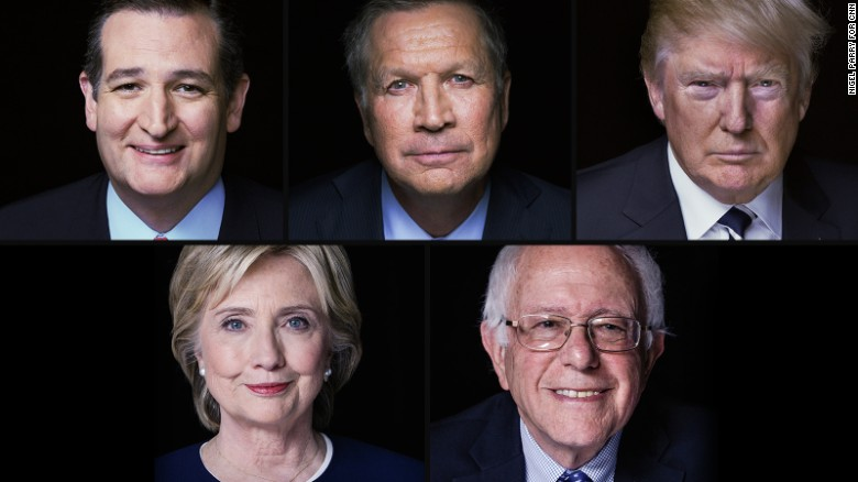 Ted Cruz, Donald Trump, John Kasich, Hillary Clinton and Bernie Sanders,