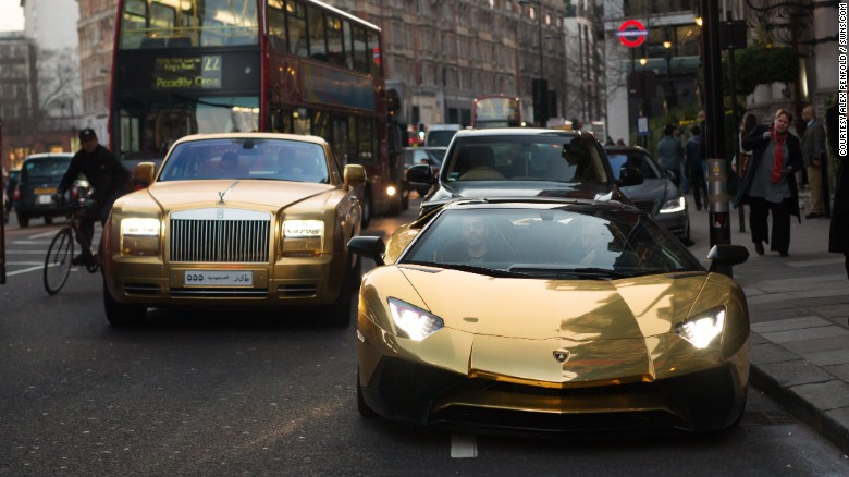 Four luxury gold cars have been seen driving across London this week, all believed to be owned by the same wealthy Saudi man. The cars have a total estimated value of over $1.8 million.