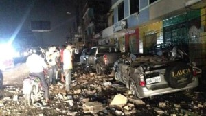 Damage from the earthquake in Esmeraldas City, Ecuador on Saturday, April 16.
