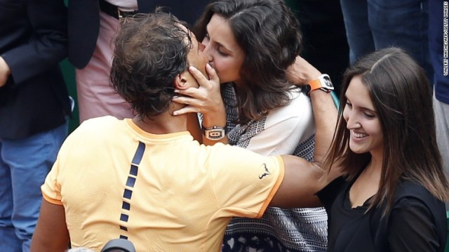 RAFAEL NADAL CELEBRATES WITH KISS AS HE WINS MONTE CARLO MASTERS FOR NINTH TIME