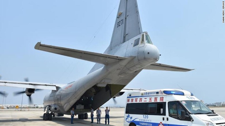 Chinese military aircraft transported the three sick civilian workers.