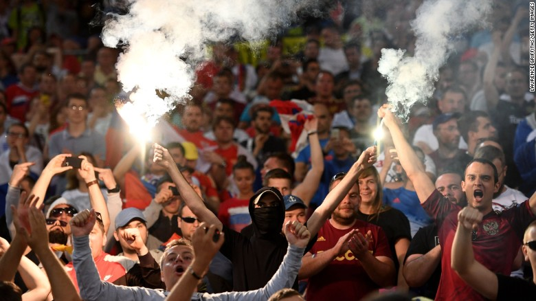 Russian supporters light fireworks after a  Euro 2016 match between England and Russia ended in a 1-1 tie, at Stade Velodrome on Saturday, June 11, in Marseille, France.