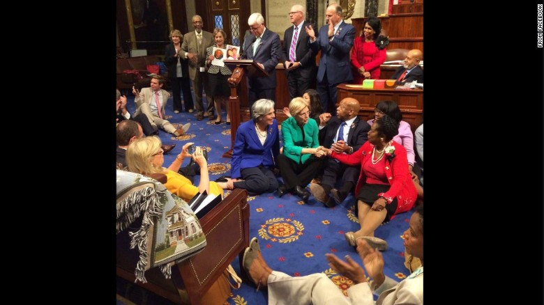 "Rep. John Lewis, second from right, sits with other Democrats on the House floor as<a href=""http://www.cnn.com/2016/06/22/politics/john-lewis-sit-in-gun-violence/index.html""> they try to force a vote on gun control</a> on Wednesday, June 22. Lewis posted <a href=""https://www.facebook.com/RepJohnLewis/posts/10154185589303405:0"" target=""_blank"">the above photo to his Facebook account saying</a>, ""We have a mission, a mandate, and a moral obligation to speak up and speak out until the House votes to address gun violence. We have turned deaf ears to the blood of the innocent and the concern of our nation. We will use nonviolence to fight gun violence and inaction."""