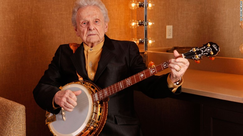 Ralph Stanley poses backstage at the Grand Ole Opry in 2011.