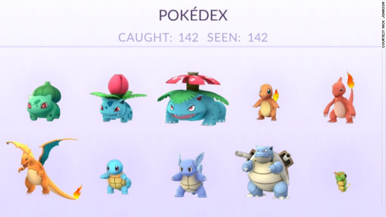 A screenshot of Johnson's Pokedex shows that he has caught 142 different Pokemon.