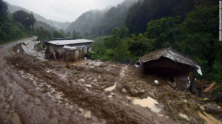 The community of Coscomatepec, Veracruz, in eastern Mexico was among many towns and villages  hit by landslides.