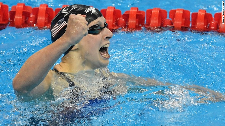 United States' Katie Ledecky celebrates after setting a new world record in the women's 400-meter freestyle final.