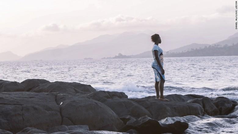 KK looks back towards Bureh Beach.