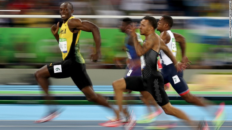 Usain Bolt of Jamaica competes in the Men's 100 meter semifinal.