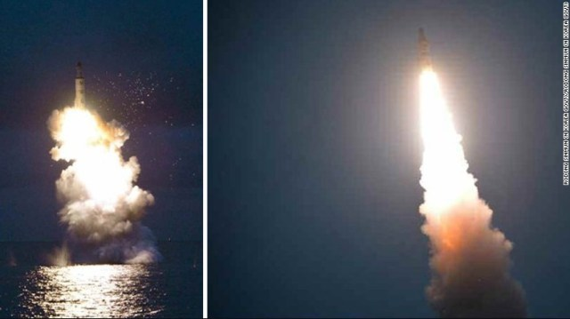 An image purportedly of the launch released by North Korean news agency Rodong Sinmun.