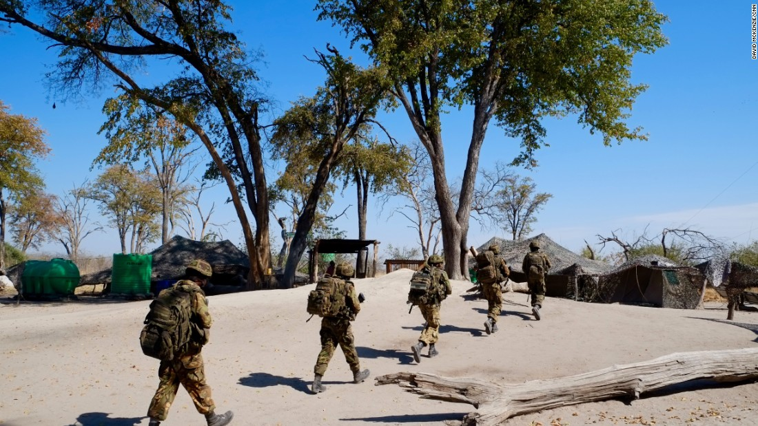 Botswana Defense Force troops patrol near the Linyanti.