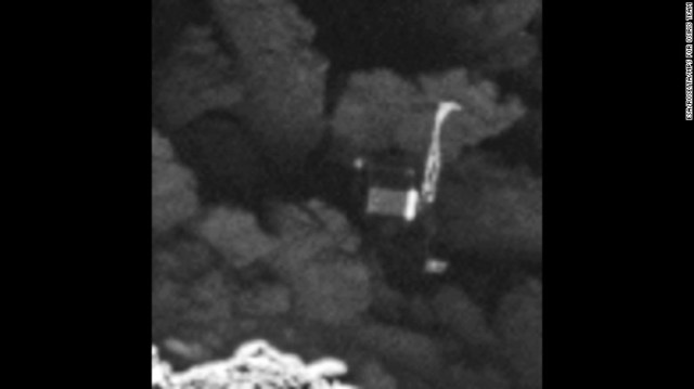 The Rosetta spacecraft's high-resolution camera took this image of the Philae lander on September 2, 2016. The lander is wedged into a dark crack on a comet, named 67P/Churyumov--Gerasimenko, hurtling through space. The discovery comes less than a month before the Rosetta mission's end.