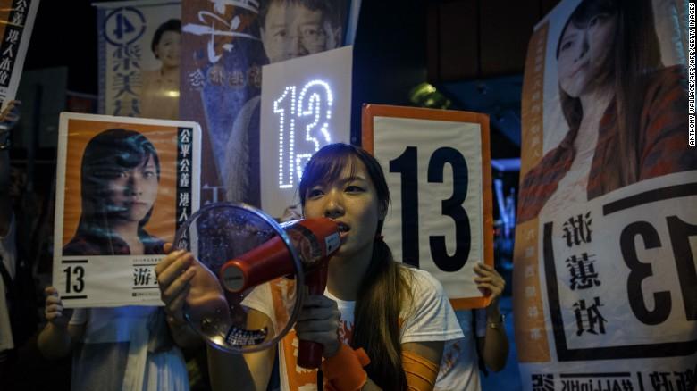 """Yau Wai-ching displayed a flag with the slogan """"Hong Kong is not China."""""""