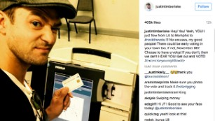 Justin Timberlake captures a selfie while voting Monday in Memphis.
