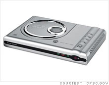 The CPSC and Wal-Mart recalled 1.5 million Durabrand DVD players because they have overheated and burst into flames.