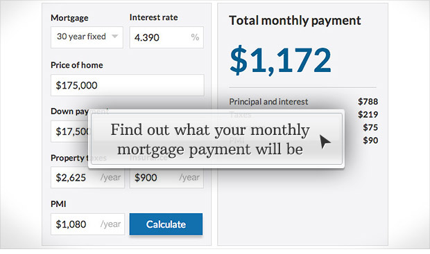 mortgage calculator screen