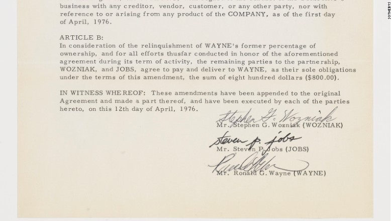 ron wayne apple contract