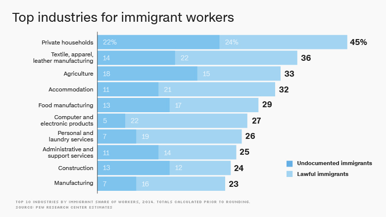 immigrant top industries