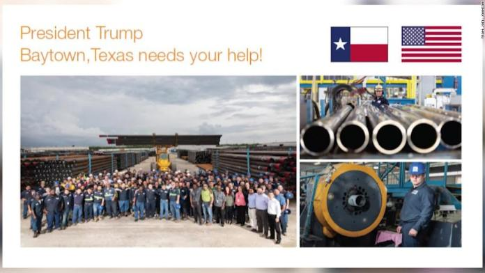 Steel pipe factory workers send Trump postcard pleas