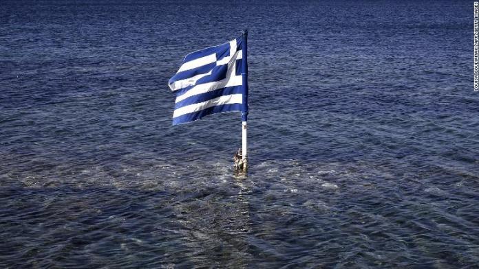 greek flag floating sea