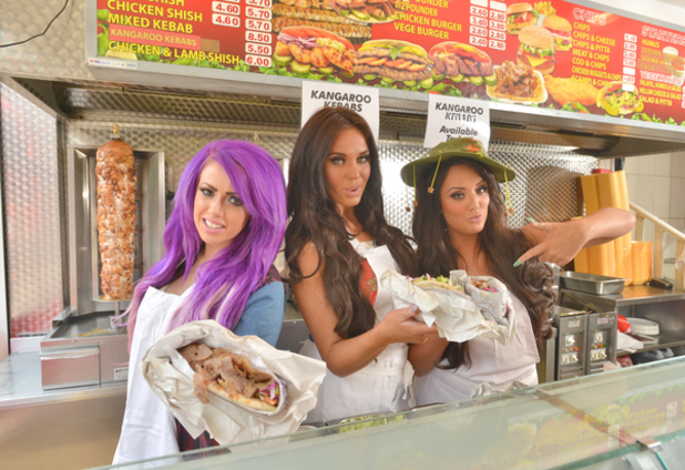 Geordie Shore girls Vicky Pattison, Holly Hagan and Charlotte Crosby launch their kangaroo kebabs