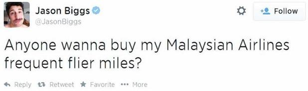 Jason Biggs Malaysian airline tweet