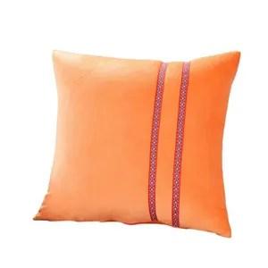 taie d oreiller taie d oreiller velours cristal 45x45cm orange c