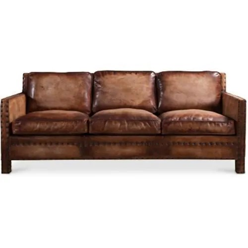 canape vintage de 3 places en cuir marron vieilli marron vieilli