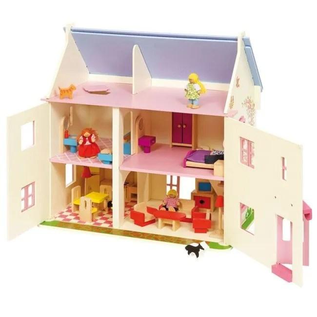 maison de poupees en bois rose cottage