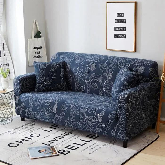 tempsa couverture canape feuilles bleu chaise couch protect housse extensible elastique 3 places