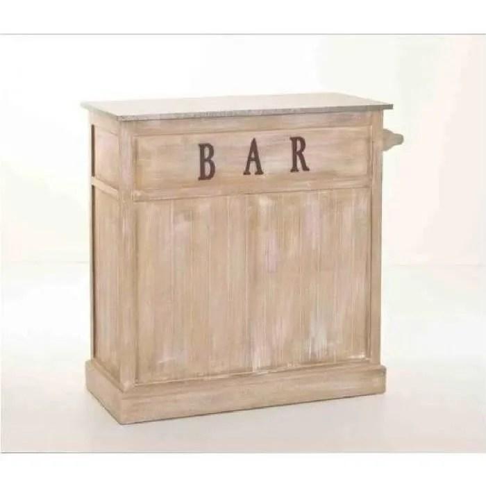 meuble bar bois classique patine zinc 109x46x106cm sandra
