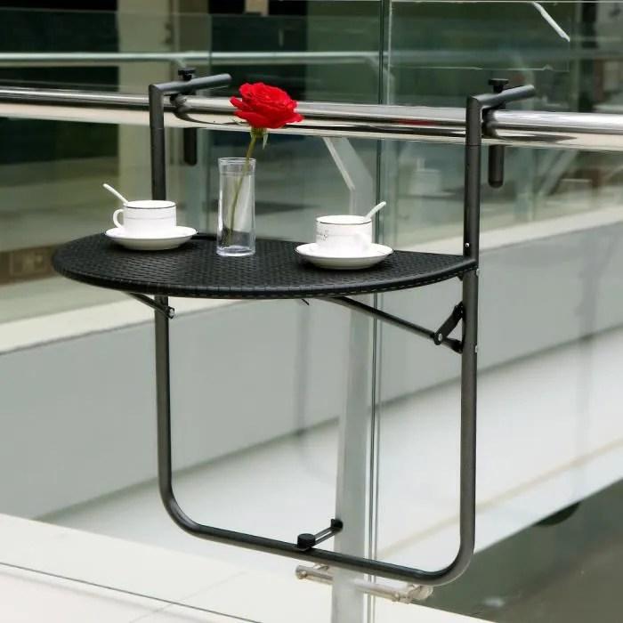 ikayaa table suspendue pliante de balcon terrasse patio table a manger jardin meuble reglable en hauteur noir