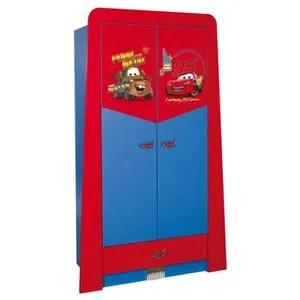 armoire enfant a 2 portes 1 tiroir design cars disney coloris rouge et bleu