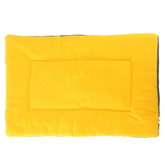 tapis coussin lit couchage tissu velours chien chat animaux niche dog bed jaune l