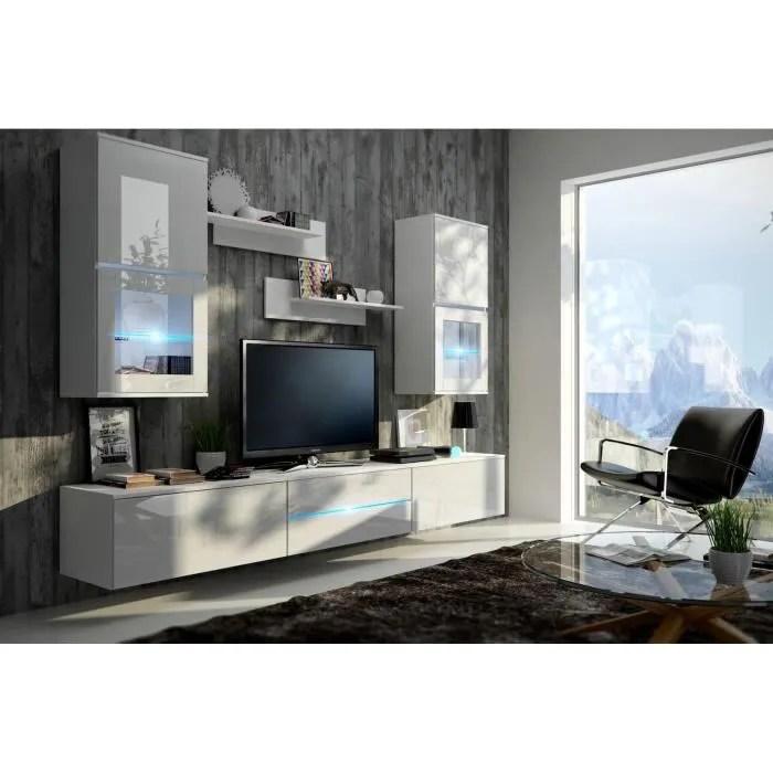 meuble de salon meuble tv complet suspendu bilbao blanc led meuble design et tendance avec facades brillantes high gloss