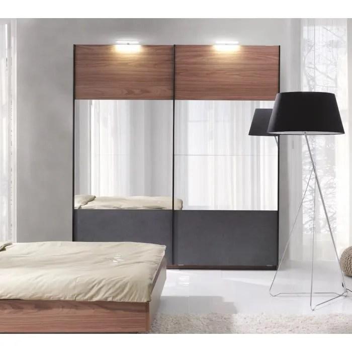 armoire renato 2 portes coulissantes avec miroirs garde robe pour chambre a coucher dressing penderie couleur walnut et grise