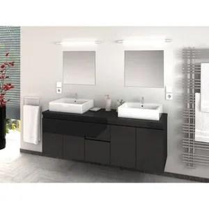 cina ensemble salle de bain double vasque l 150 cm gris laque brillant