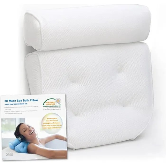 oreiller de bain coussin de baignoire jacuzzi oreiller de spa avec des grandes ventouses support pour la tete la nuque les epaules