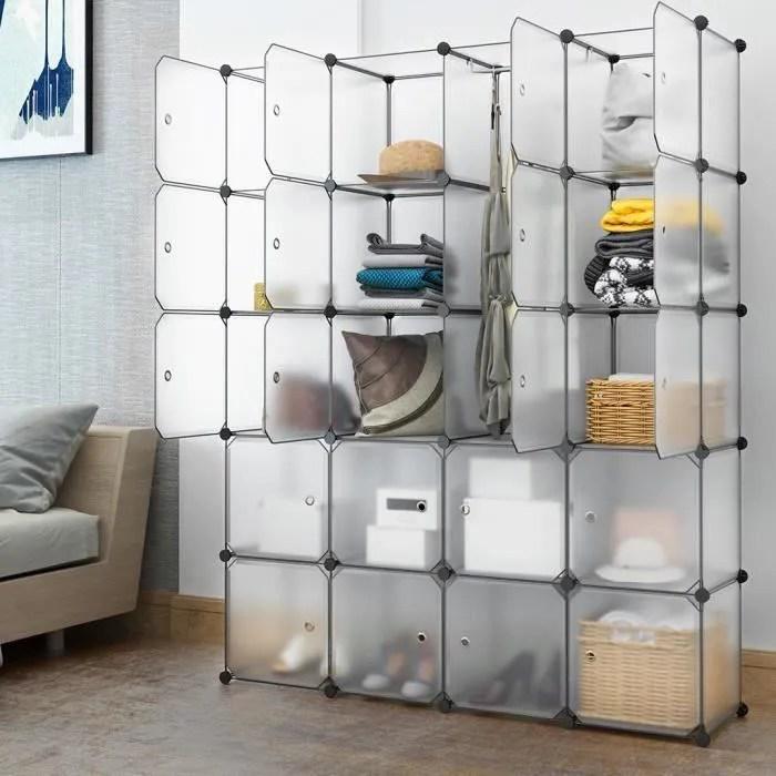 langria 20 cube armoire de chambre penderie modulable meuble etagere de rangement 147x37x183cm avec tige de suspension pour vetement