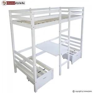 lit mezzanine lit enfant mezzanine superpose blanc 90x200 pin ma