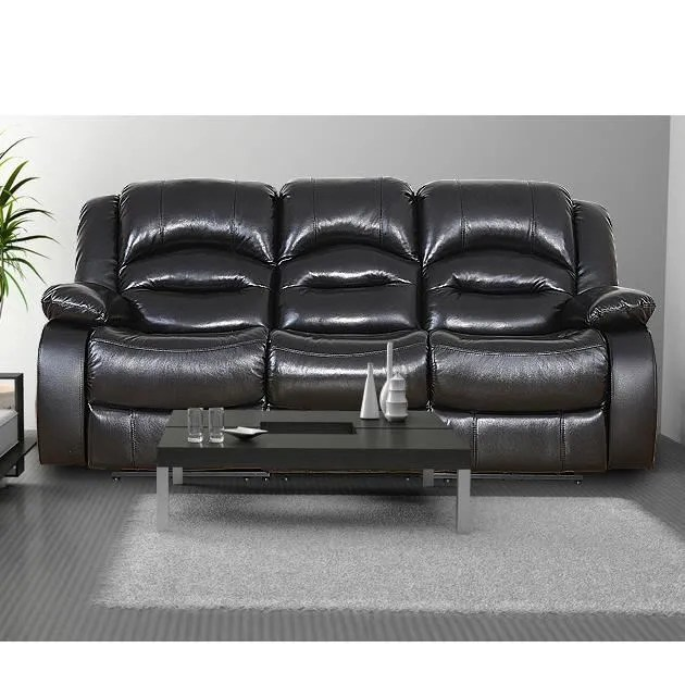 canape sofa divan canape 3 places massage noir